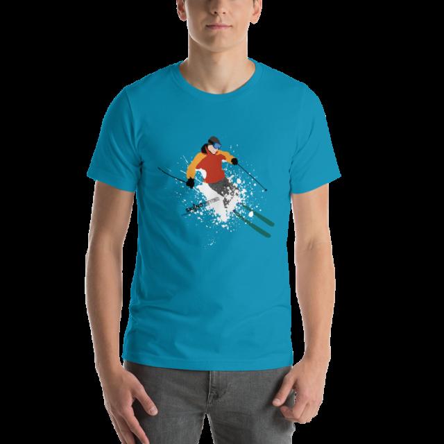 SKIING FEVER - Camiseta manga corta unisex (Aguamarina)