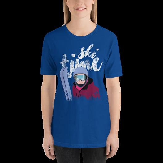 SKI TIME - Camiseta manga corta unisex (Azul real claro)